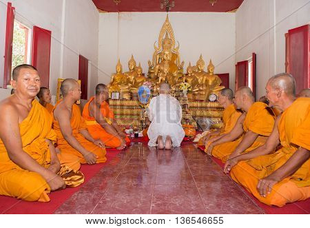Huahin-thailand-30Apr ,2016 : Newly Ordained Buddhist Monk Pray With Priest Procession. Newly Ordain