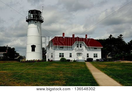 Chatham Massachusett - July 15 2015:: Chatham Lighthouse and U.S. Coast Guard Station Headquarters