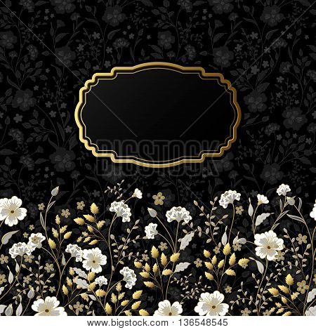 Template frame design for greeting card. Cute little flowers background. Gold gray beige with golden stroke herbs on black
