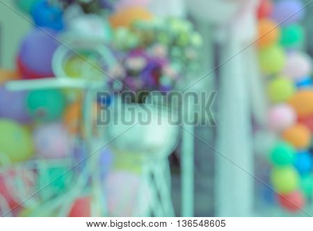 Abstract blur outdoor party decoration with colorful balloon background. Celebration concept.