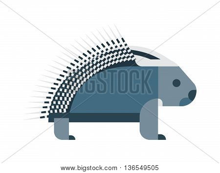Vector bristling porcupine on white background. Cute cartoon porcupine australia wildlife echidna mammal. Porcupine hedgehog spine rodent needle dangerous spiked hedge hog vector character.