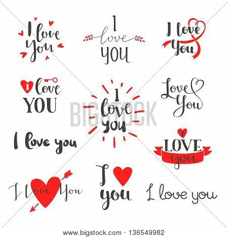 Vector I love You photo overlays, hand drawn lettering collection, inspirational quote. Lovely text I love You follow your heart romantic type. I love You have greeting sign message decoration.