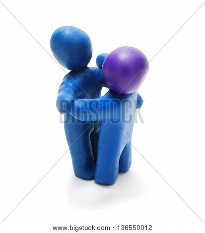 3D Plasticine Couple Waltzing Ballroom Dance Isolated on White Background