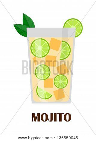 Mojito cocktail in glass isolated on white background. Mohito water splash, peppermint drink. Lemon rum green drink alcohol mohito. Vector freshness beverage citrus cocktail lime drink.