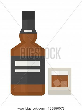Full whiskey bottle ice aroma shot drink. Vector whiskey bottle and short glass brown drink. Brown whiskey bottle beverage liquor bar cognac amber, drunk ireland flavor. Taste screw scottish cocktail.