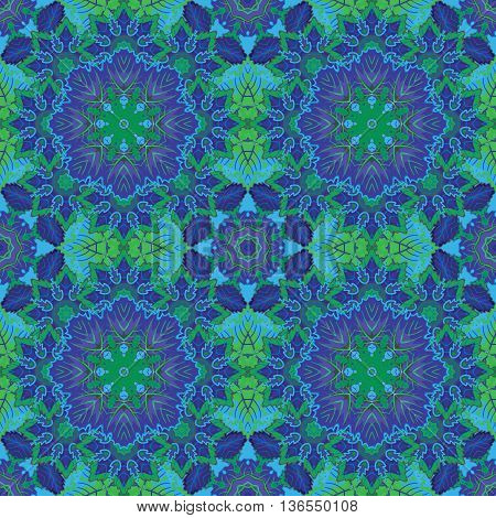 Seamless oriental ornamental pattern. Vector laced decorative background with floral and geometric ornament. Repeating geometric tiles with blue mandala. Indian or Arabic motive. Boho festival style.