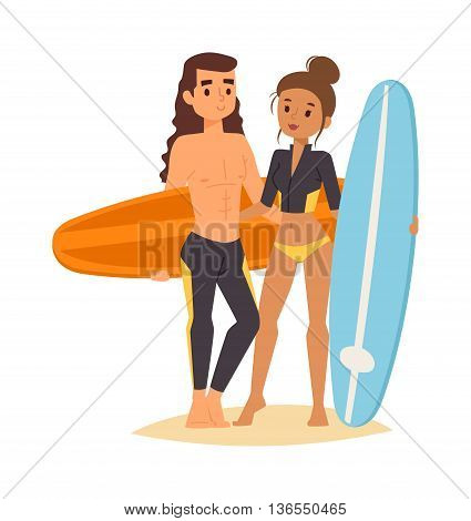 Large collection of vector surfing people. Surfing people surfer woman, water sports. Sunny beach water hobby surfing people summer vacation lifestyle. Tropical waves teenager leisure.