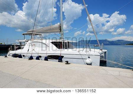 The sail yacht is in harbor Corfu island Greece