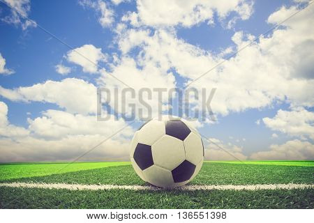 Soccer Blue Sky Background Or Football In The Blue Sky  Background Vintage Color