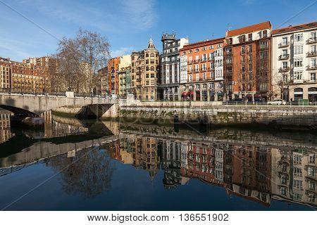 Bilbao, Vizcaya/Spain - 06/16/2016: Old town of Bilbao Nervion estuary