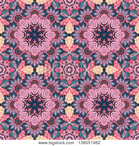 Seamless oriental ornamental pattern. Vector laced decorative background with floral and geometric ornament. Repeating geometric tiles with pink mandala. Indian or Arabic motive. Boho festival style.