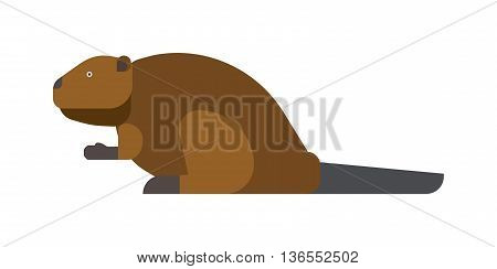 Funny beaver illustration, cartoon style. Beaver animal wild rodent. Mammal nature beaver cute wood cuter animal. Small cheerful cartoon animal. Wood eating river wild animal character.