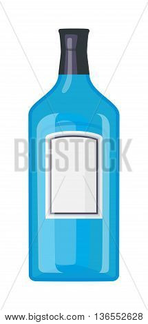 Alcohol tequila blue bottle restaurant liquid vector. Tequila scotch brewery tequila bottle drink vermouth liquor. Party drink bottle design beverage. Alcohol lifestyle healthy drink.