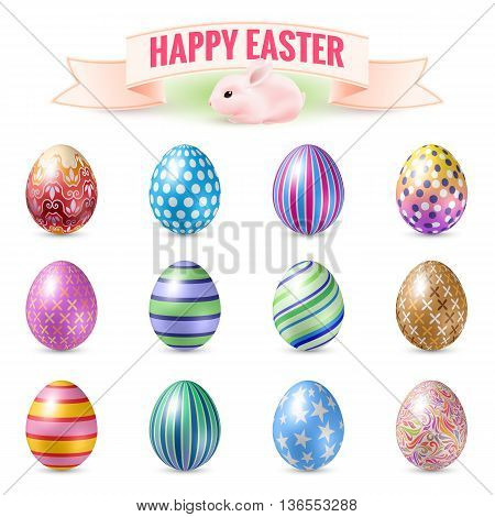 Set of Decorated Easter Eggs for Easter Holidays. Illustration for Design Templates