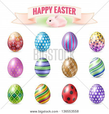 Set of Vintage Easter Eggs. Illustration on White Background