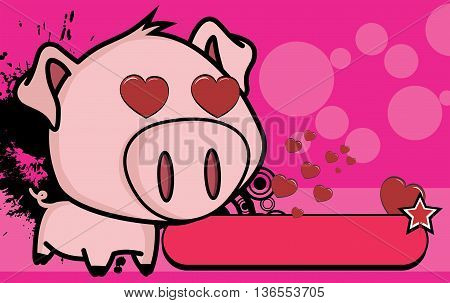 cute little big head pig cartoon background in vector format