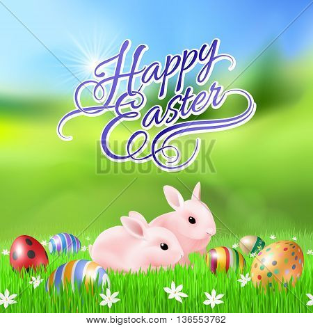 Happy Easter Greeting Card with Two Rabbits on Green Grass