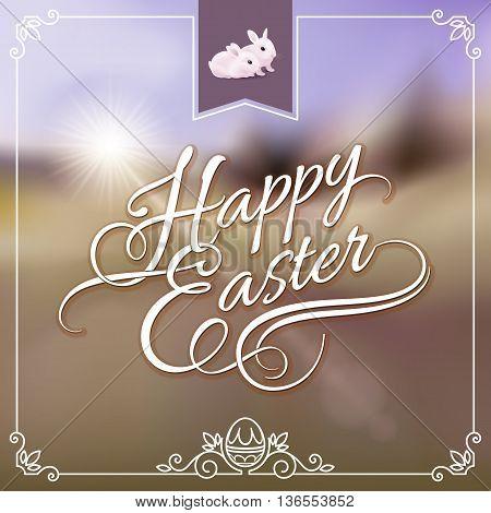Happy Easter Greeting Card. Illustration on Vintage Background