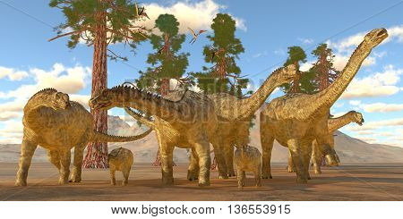 Uberabatitan Dinosaurs 3D Illustration - Zhejiangopterus reptile birds fly over a herd of Uberbatitan dinosaurs during the Cretaceous Period.