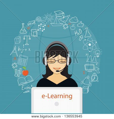 Flat modern design vector illustration concept of online education e-learning with girl laptop and hand drawn icons. eps 10