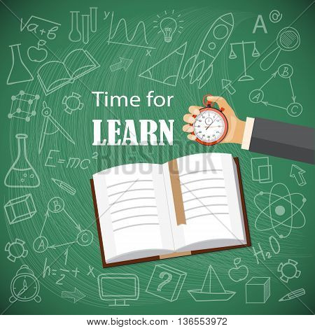 Flat modern design vector illustration concept of online education business learning with book hand and hand drawn symbols. eps 10