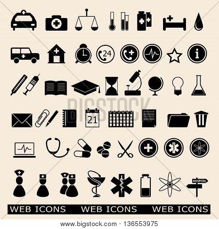 Flat vector illustration set of web icons for education medicine. eps 10