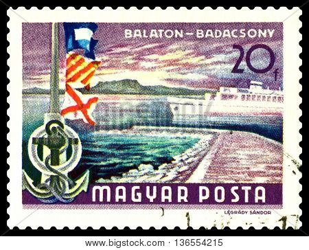 STAVROPOL RUSSIA - JUNE 28 2016: a stamp printed by Hungary shows Balaton Lake Resorts flags Badacsony hills circa 1968.