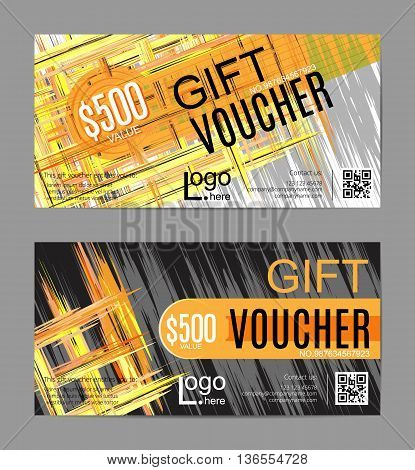 Vector gift voucher, card template with multicolor hand drawn paint strokes background. Safari colors. Concept for boutique, shop, fashion, beauty salon, flyer, banner design.