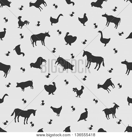 Vector illustration animal on the background seamless pattern. Set of elements