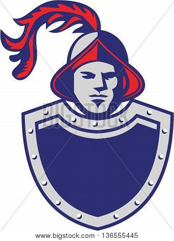 Illustration of a spanish conquistador wearing chest armor shield viewed from front set on isolated white background done in retro style.