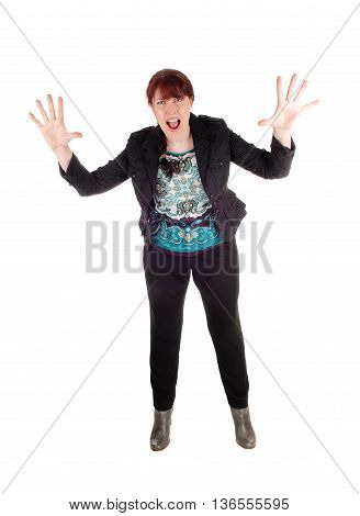 A business woman standing isolated for white background with her hands up and screaming for help.