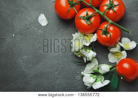 Fresh Grape Tomatoes And Flowers For Use As Cooking Ingredients With Copyspace