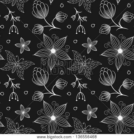 Set of seamless backgrounds with hand drawn colorful butterflies and flowers