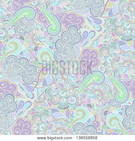 Seamless pattern doodle floral bright hand drawn.