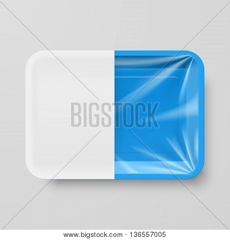 Empty Blue Plastic Food Container with White label on Gray Background