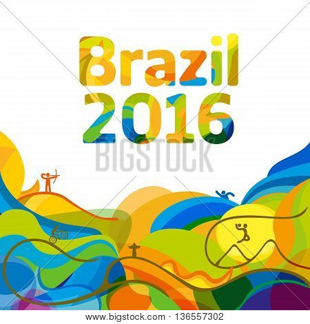 Summer color of Olympic games 2016 wallpaper. Rio 2016 abstract colorful background. Sport Brazil background. Vector template for backgrounds cards web and journals. Athletes icon.
