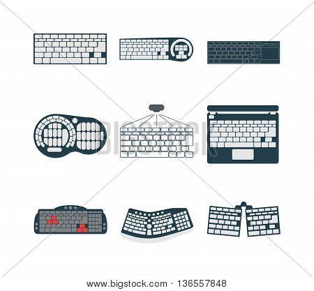 Computer keyboard vector illustration. Desk office worker keyboard concept. Computer, internet, typing. Flat style design keyboard hands vector illustration. Modern concept programmer.