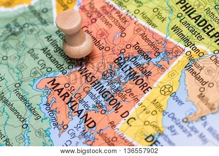 Washington D.c. On A Map