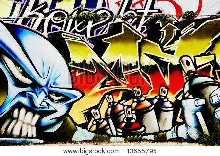 Great Graffiti tag, colorful and vibrant showing spray paints