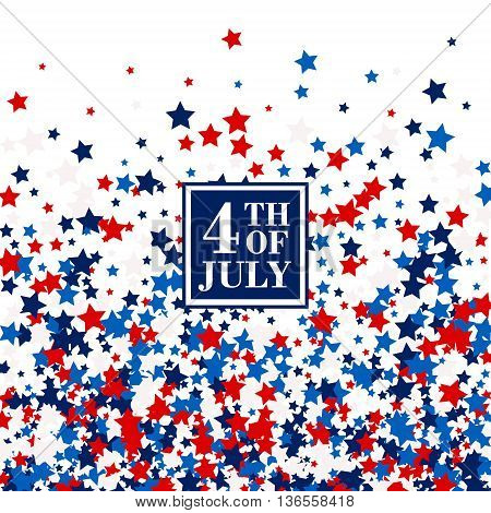 4th of July festive banner concept with scatter stars in traditional American colors - red, white, blue. Isolated.