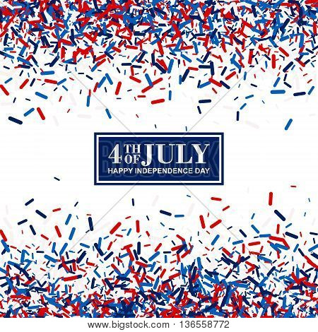 4th of July festive greeting card of scatter sawdust in traditional American colors - red, white, blue. Isolated.