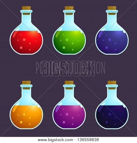 Vector stock of colorful potion elixir bottles collection