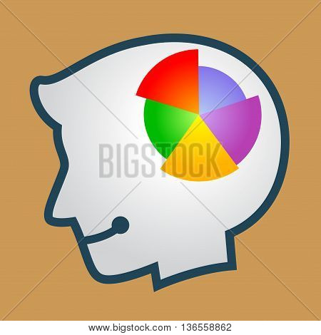 Vector stock of human head silhouette with pie chart symbol inside