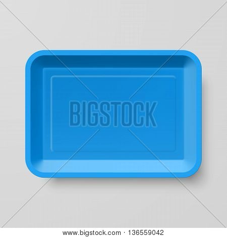 Empty Blue Plastic Food Container on Gray Background