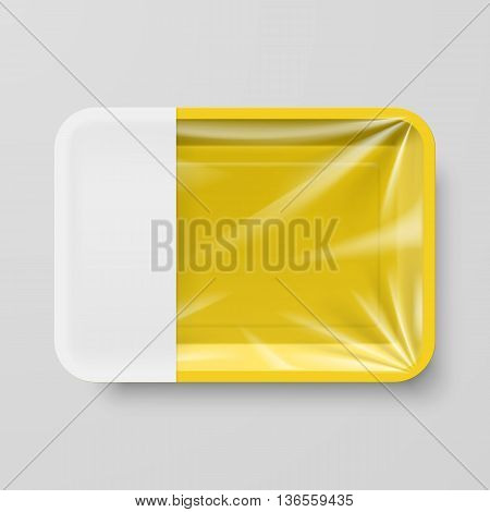 Empty Yellow Plastic Food Container with Empty Label on Gray