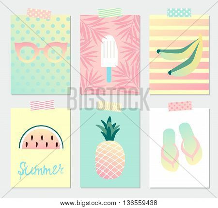 Set of bright summer greeting cards with pineapple, watermelon, ice cream, beach sandals, palm leaves, bananas and glasses.