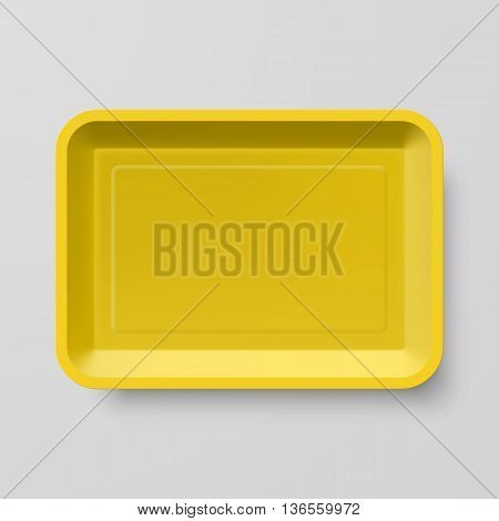 Empty Yellow Plastic Food Container on Gray Background