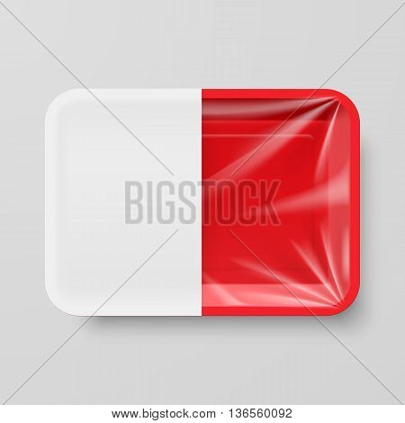 Empty Red Plastic Food Container with White label on Gray Background