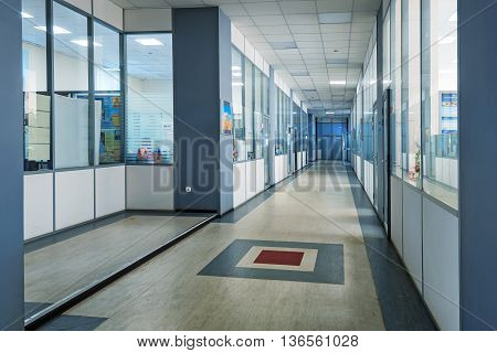 Modern office interior of plastic and glass