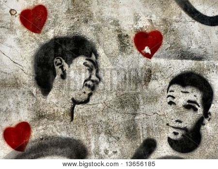 Political Gay graffiti stencil with hearts. Similar to Banksy work